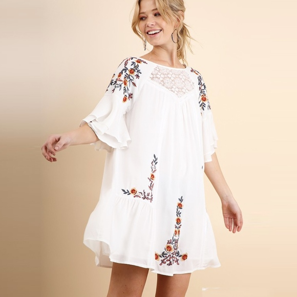 9ef37df05a26 Umgee Dresses | Floral Embroidered Bell Sleeve Boho Swing Dress ...